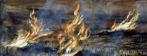 Maria Giulia Alemanno FUOCHI ORIZZONTALI 2, part. olio su tavola cm 51 x 91 -1999