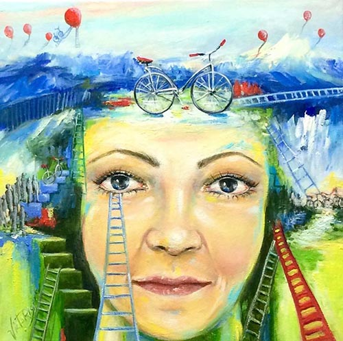 4 ELSA VICTORIOS_ face_bycicle_ladders_painting