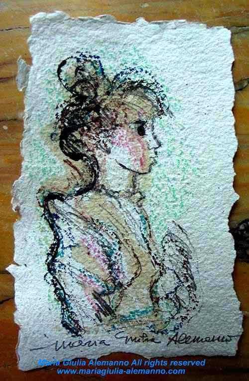 PICCOLA DAMA DI CARTA su un minuscolo foglio del Taller del Papel Artesanal di L' Avana. Tecnica mista di Maria Giulia Alemanno. 2010