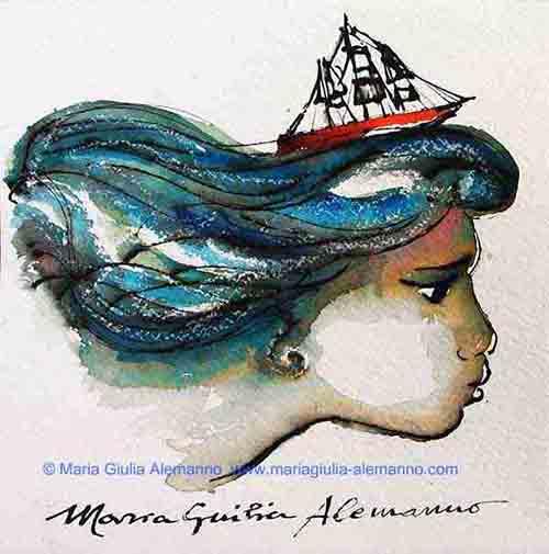 YEMAYA DI MORROVALLE, tecnica mista di Maria Giulia Alemanno su carta Fabriano, cm 20 x 20 - 2010