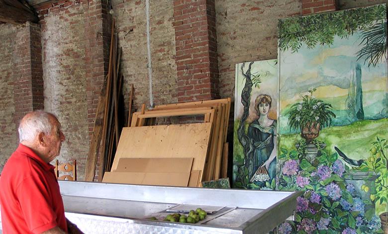 Alberto Granado davanti ad un opera di Maria Giulia Alemanno a Crescentino (Vercelli), Settembre 2006