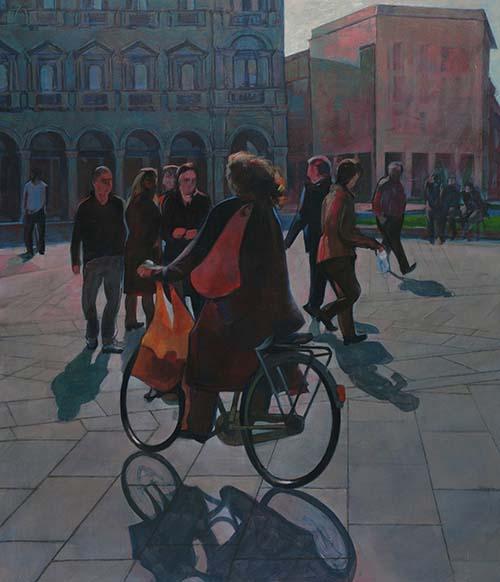 Italo Gilardi: VIANDANTI, acrilico su tavola cm 100 x 110