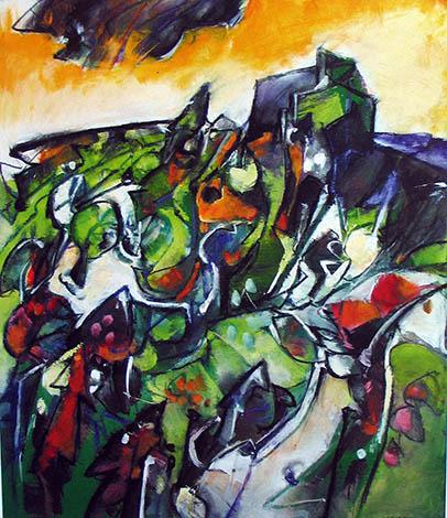 Sergio Scanu. LA VIGNA ALLEGRA. olio cm 80 x 70 - 2008